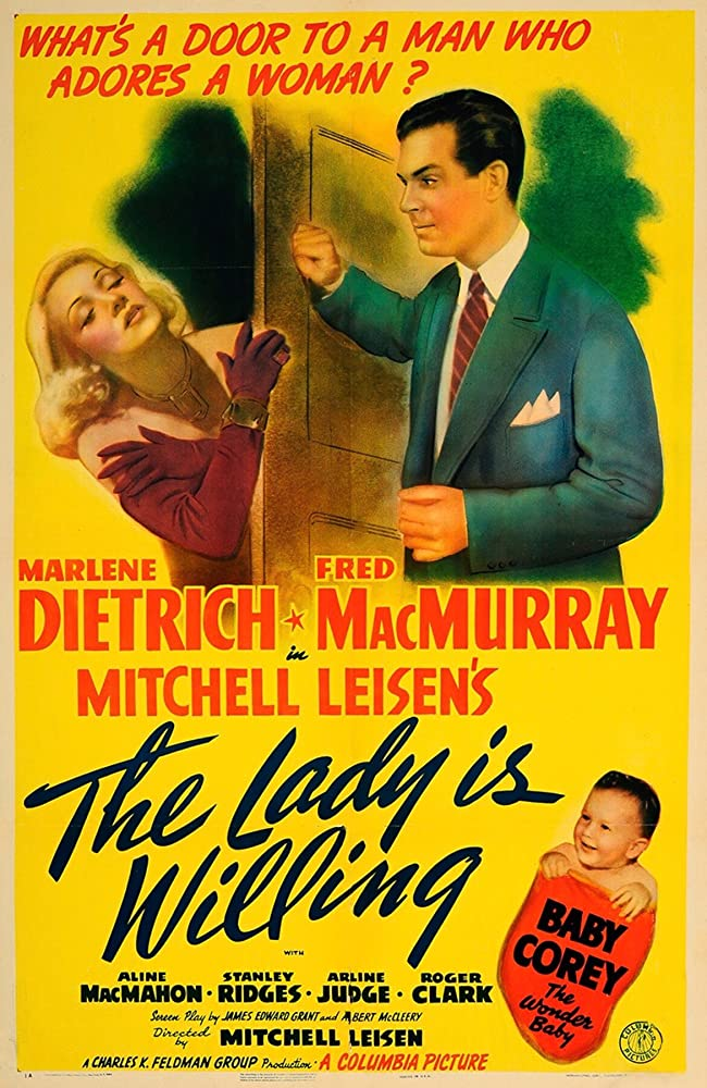 Marlene Dietrich, David James, and Fred MacMurray in The Lady Is Willing (1942)