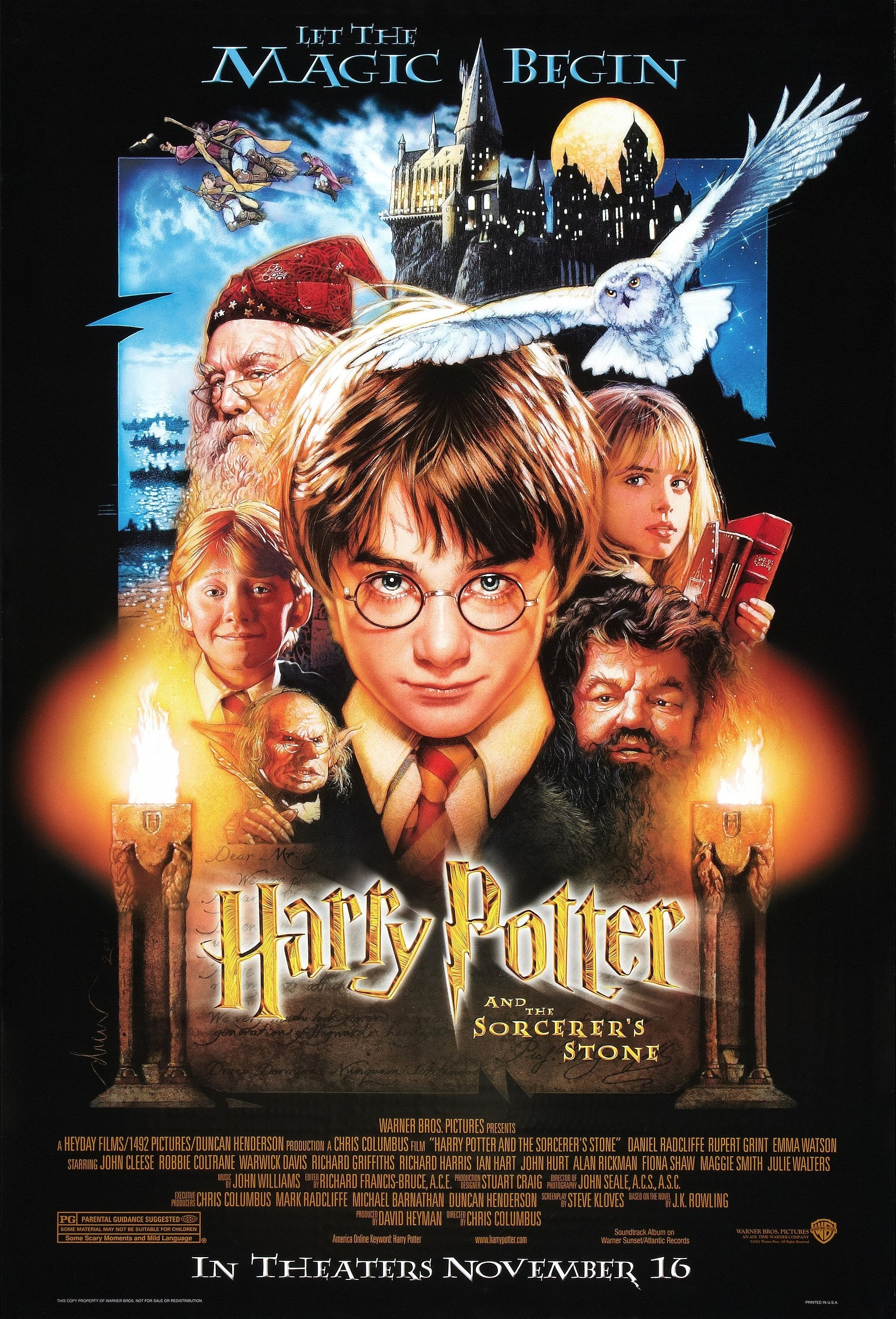 Robbie Coltrane, Warwick Davis, Richard Harris, Rupert Grint, Daniel Radcliffe, and Emma Watson in Harry Potter and the Sorcerer's Stone (2001)