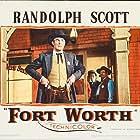 Randolph Scott, Chubby Johnson, and Dickie Jones in Fort Worth (1951)