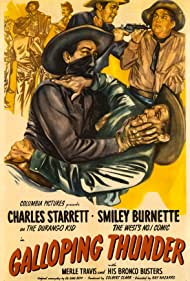 Smiley Burnette, Slim Duncan, Charles Starrett, Merle Travis, and The Bronco Busters in Galloping Thunder (1946)