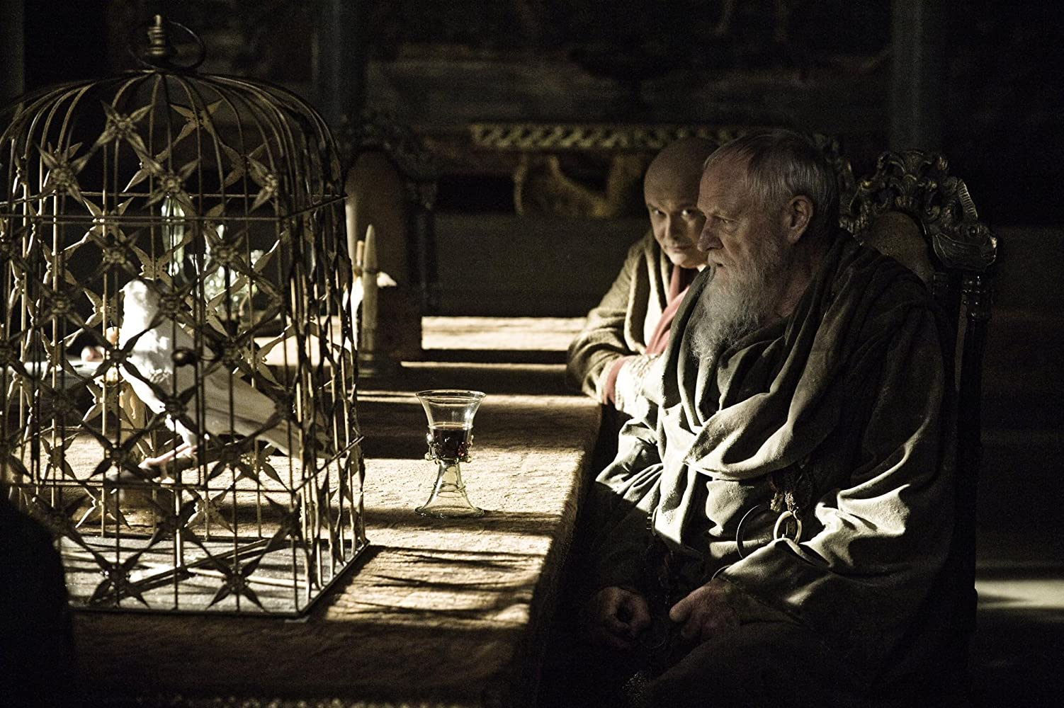 Julian Glover and Conleth Hill in Game of Thrones (2011)
