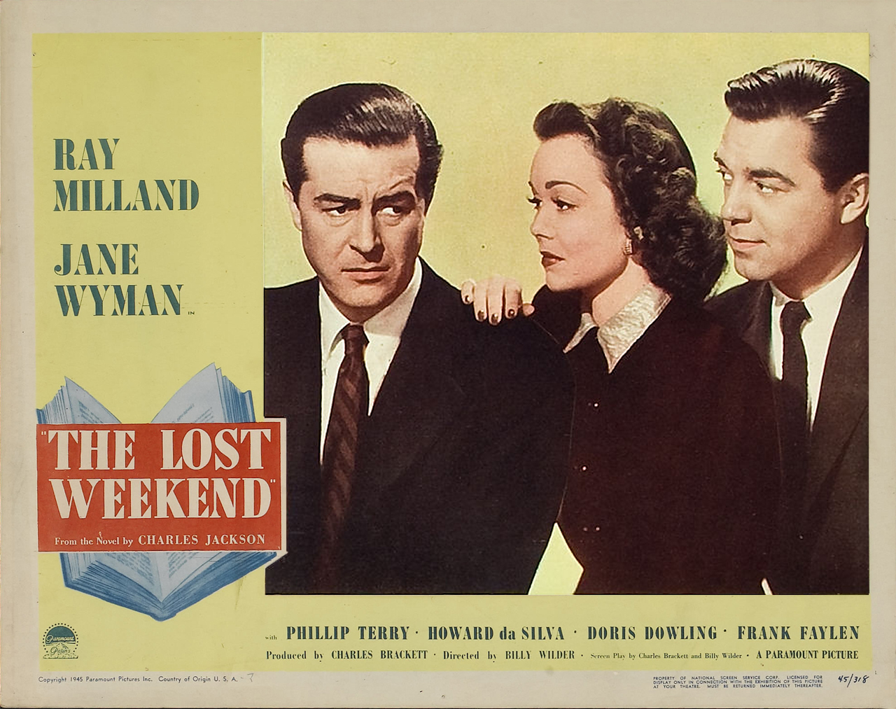 Ray Milland, Phillip Terry, and Jane Wyman in The Lost Weekend (1945)
