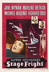 Marlene Dietrich, Richard Todd, Michael Wilding, and Jane Wyman in Stage Fright (1950)