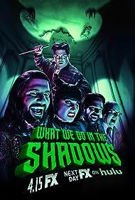 Kayvan Novak, Mark Proksch, Matt Berry, Harvey Guillén, and Natasia Demetriou in What We Do in the Shadows (2019)
