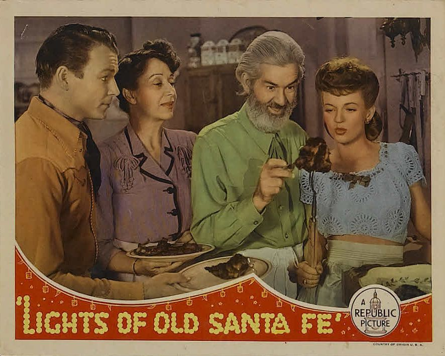 Roy Rogers, Claire Du Brey, Dale Evans, and George 'Gabby' Hayes in Lights of Old Santa Fe (1944)