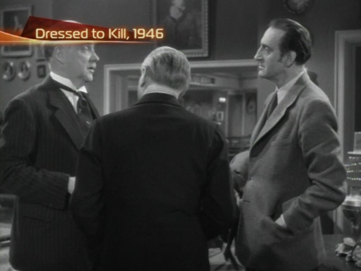Basil Rathbone, Nigel Bruce, and Carl Harbord in Dressed to Kill (1946)