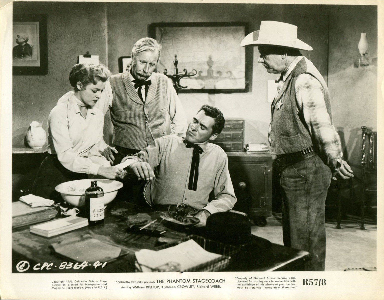 William Bishop, Kathleen Crowley, Frank Ferguson, and Ray Teal in The Phantom Stagecoach (1957)