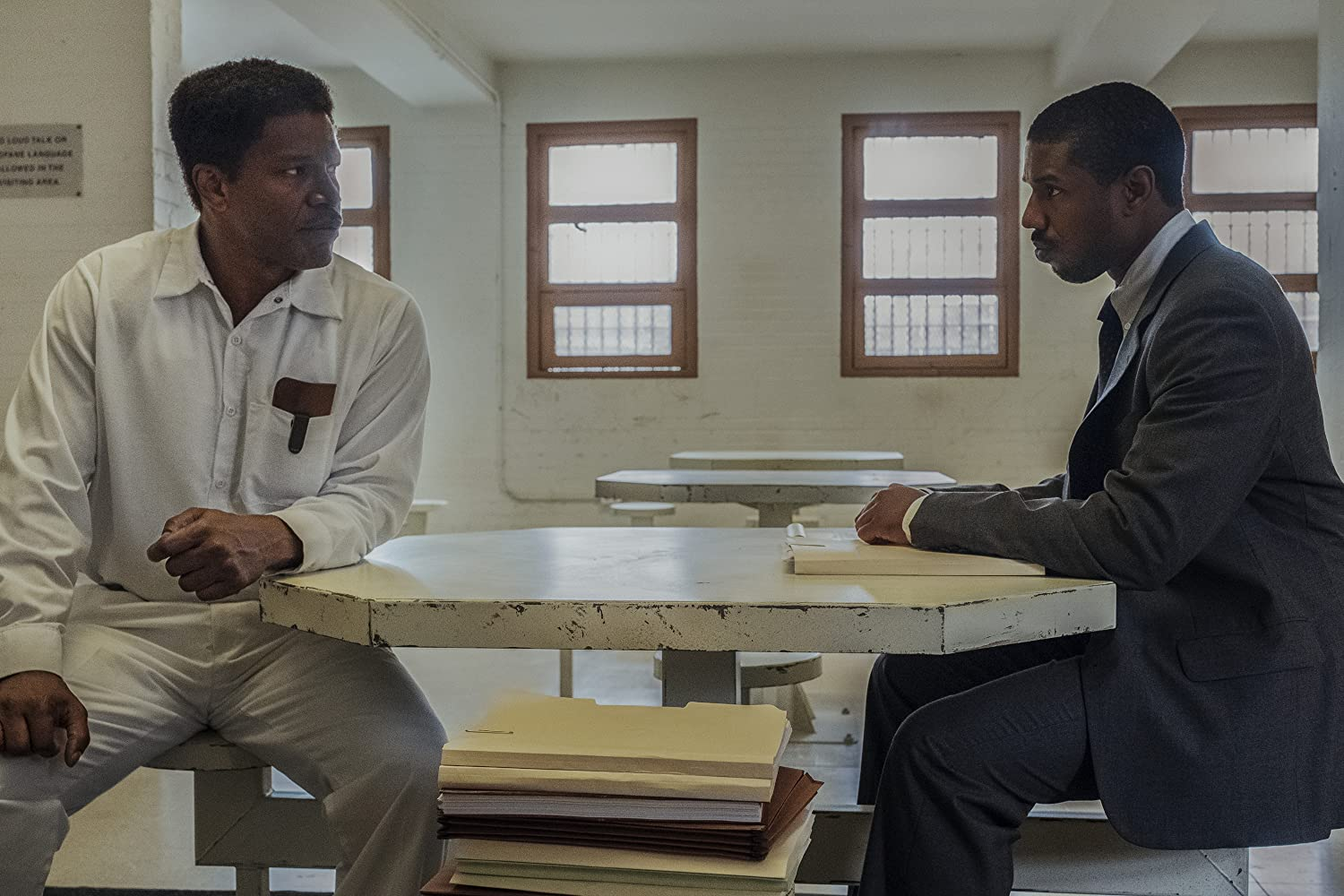 Jamie Foxx and Michael B. Jordan in Just Mercy (2019)