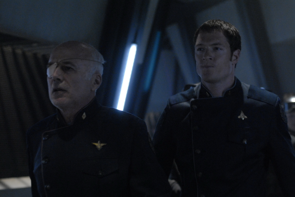 Michael Hogan and Tahmoh Penikett in Battlestar Galactica (2004)