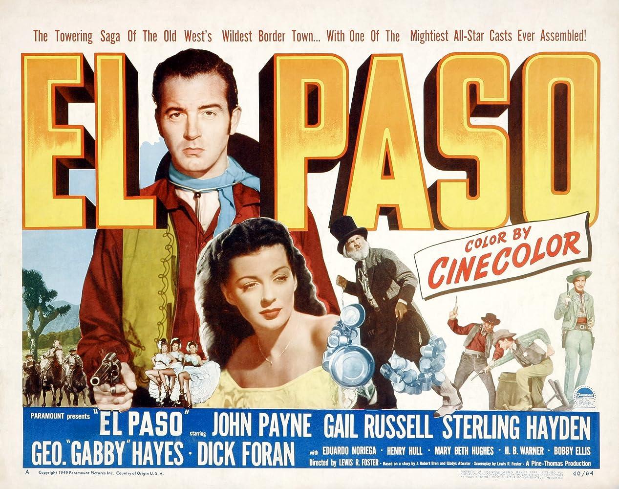George 'Gabby' Hayes, Eduardo Noriega, John Payne, and Gail Russell in El Paso (1949)
