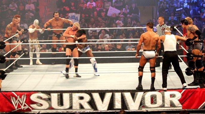 Nic Nemeth, Randy Orton, Cody Runnels, Luis Ignacio Urive Alvirde, Kofi Kingston, Jake Hager, Stu Bennett, and Jorge Arias in Survivor Series (2011)