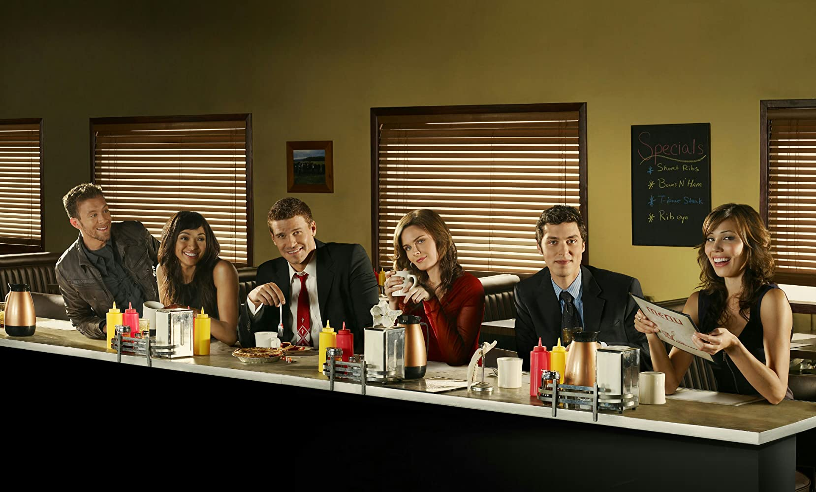 David Boreanaz, Michaela Conlin, John Francis Daley, Emily Deschanel, Tamara Taylor, and T.J. Thyne in Bones (2005)