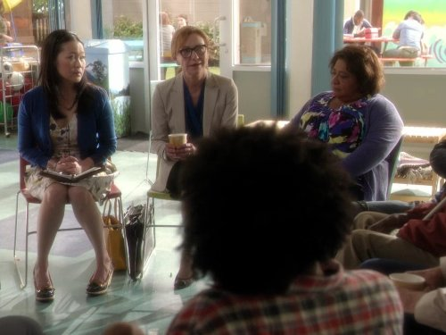 Suzy Nakamura, Julie White, and Tonita Castro in Go On (2012)