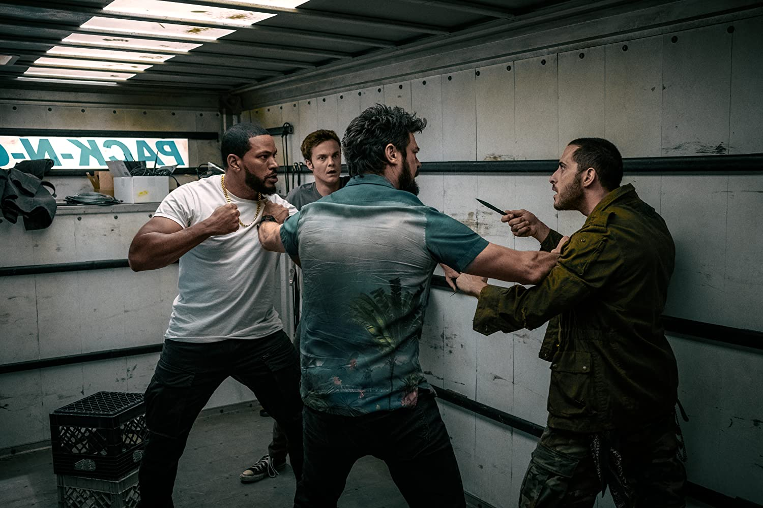 Laz Alonso, Karl Urban, Jack Quaid, and Tomer Capon in The Boys (2019)