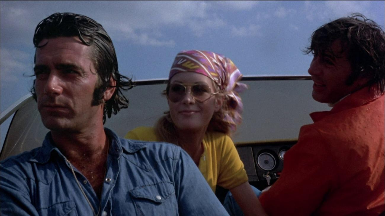 Sam Elliott, Joan Van Ark, and Nicholas Cortland in Frogs (1972)