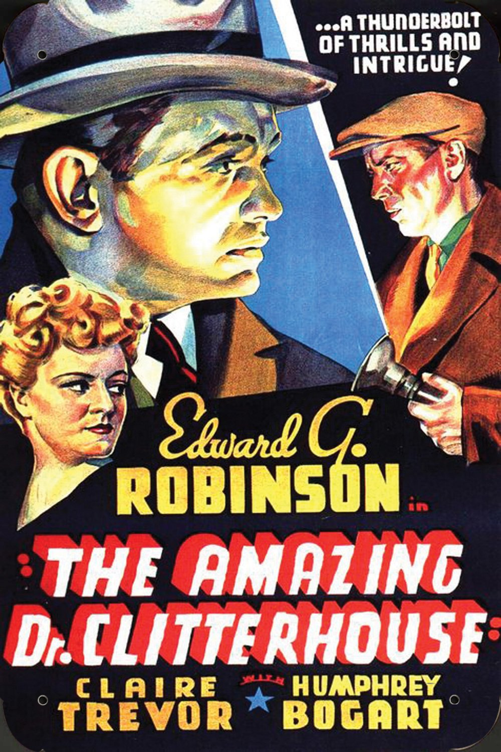 Humphrey Bogart, Edward G. Robinson, and Claire Trevor in The Amazing Dr. Clitterhouse (1938)