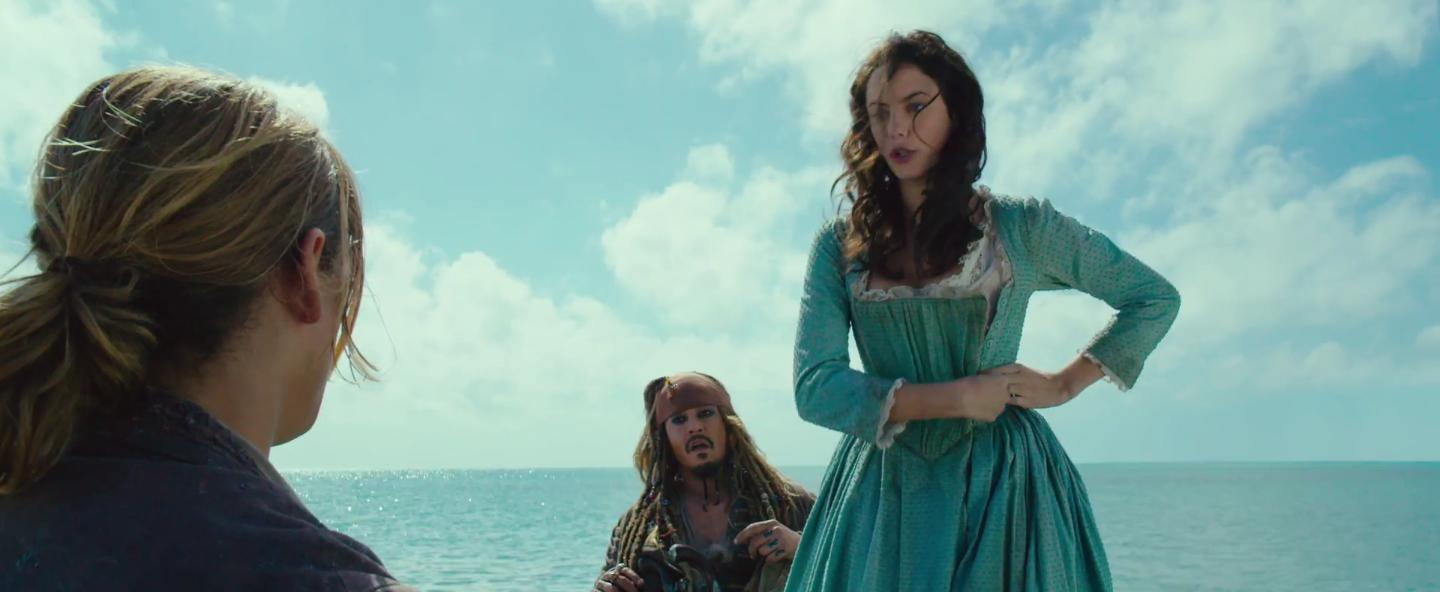 Johnny Depp, Kaya Scodelario, and Brenton Thwaites in Pirates of the Caribbean: Dead Men Tell No Tales (2017)
