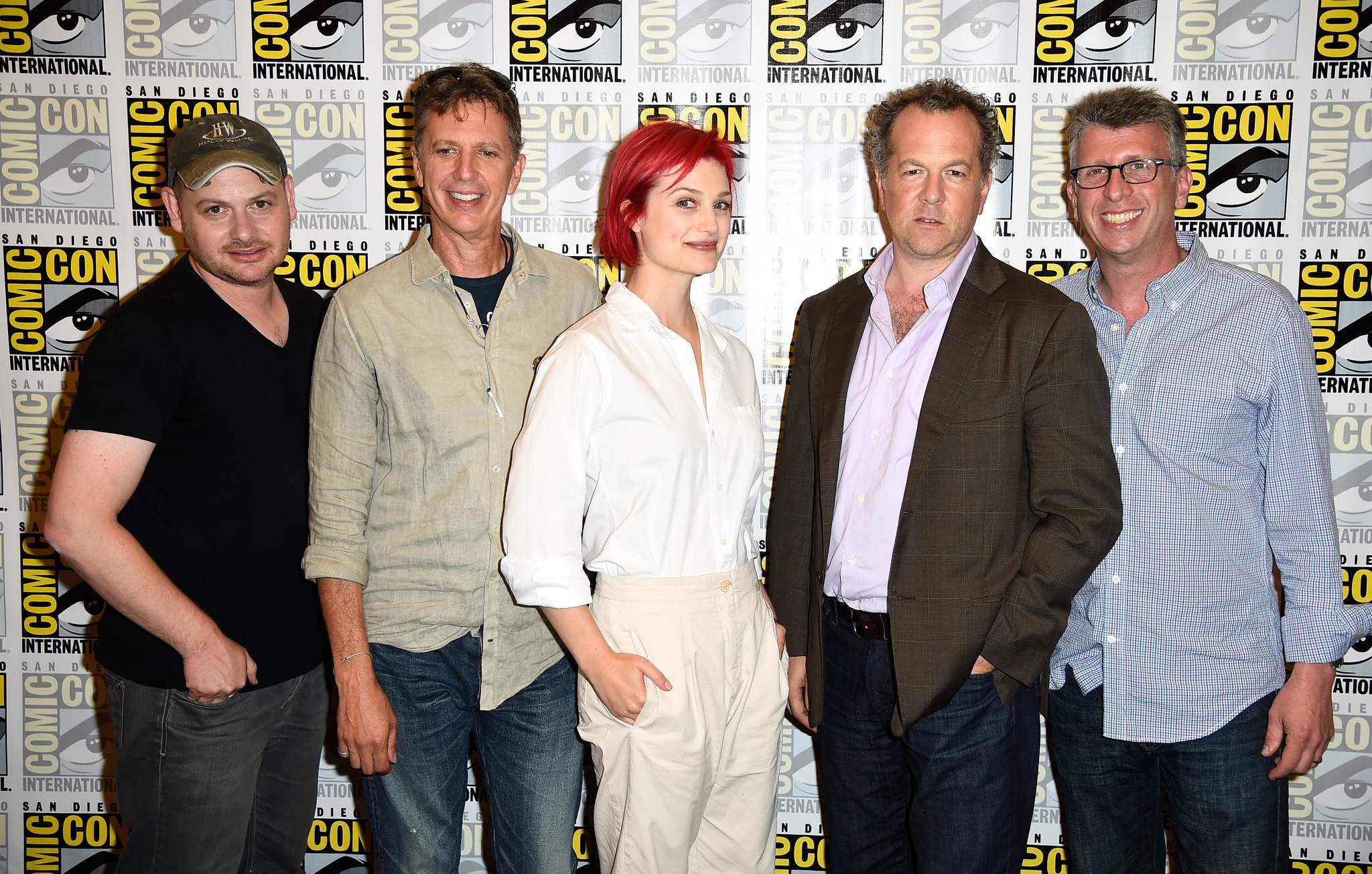 David Costabile, Tim Kring, Richard Rothstein, Alison Sudol, and Gideon Raff at an event for Dig (2015)