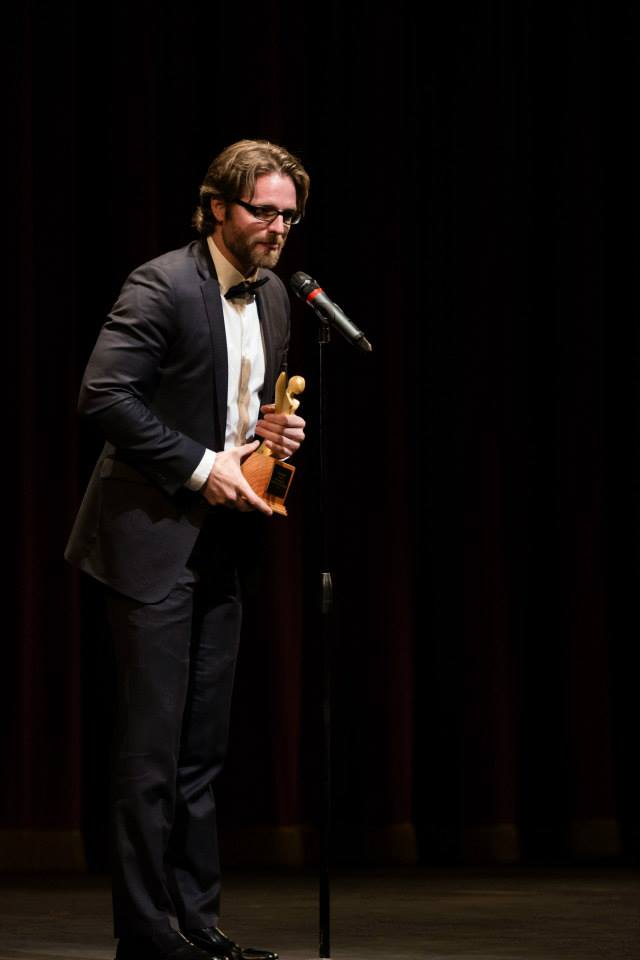 """Accepting """"Best Actor"""" for The Hanging Tree 2014."""