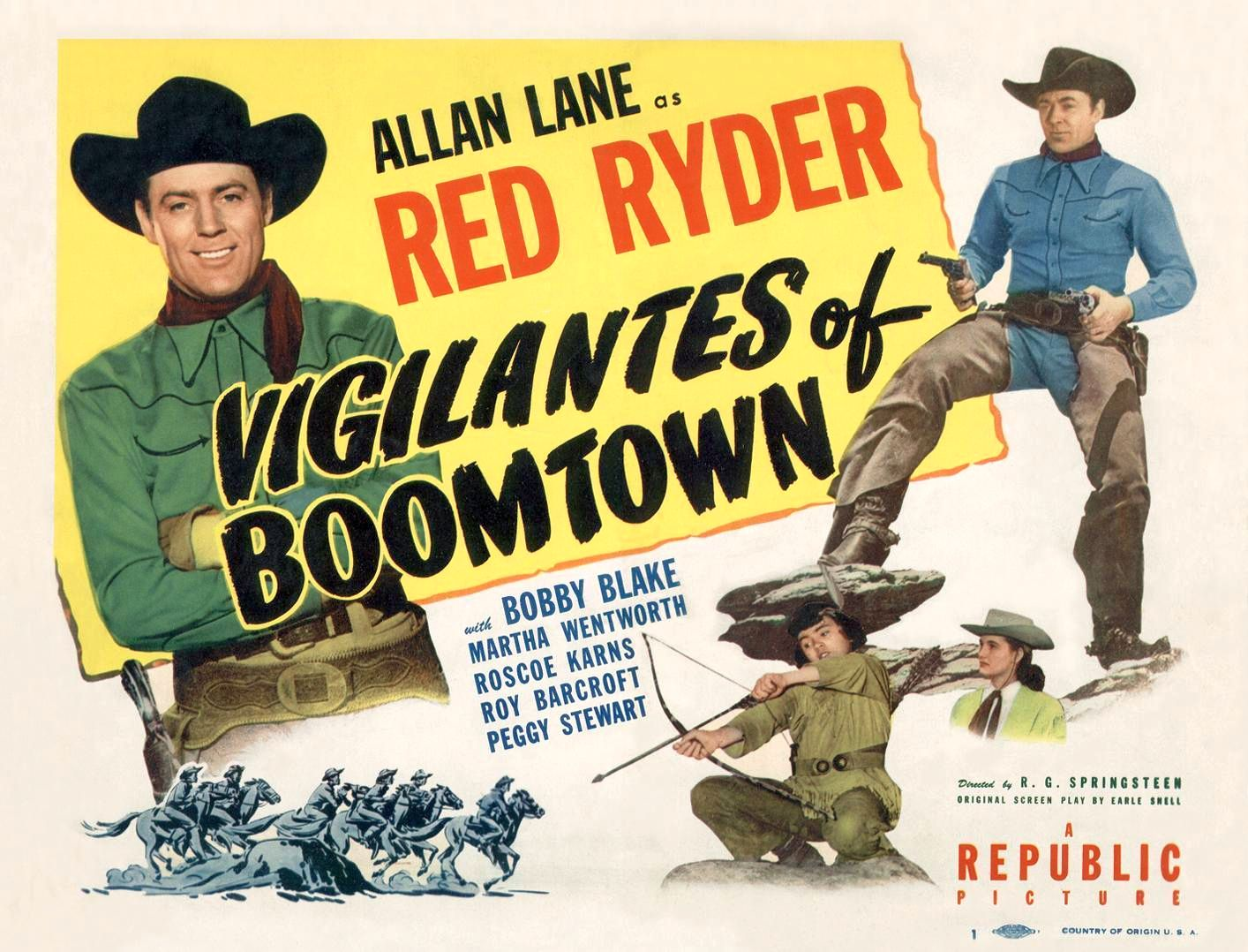 Robert Blake, Allan Lane, and Peggy Stewart in Vigilantes of Boomtown (1947)