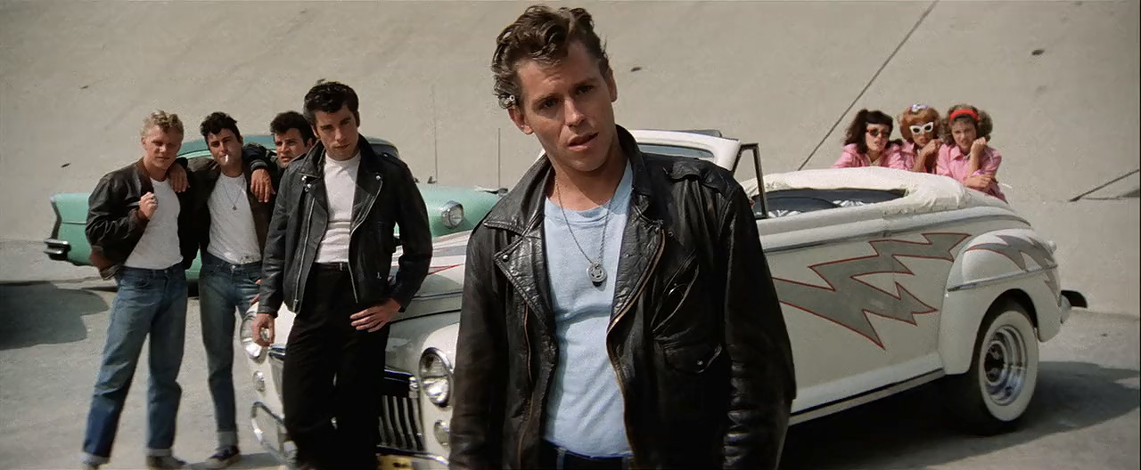 John Travolta, Jeff Conaway, Dinah Manoff, Didi Conn, Jamie Donnelly, Barry Pearl, Michael Tucci, and Kelly Ward in Grease (1978)