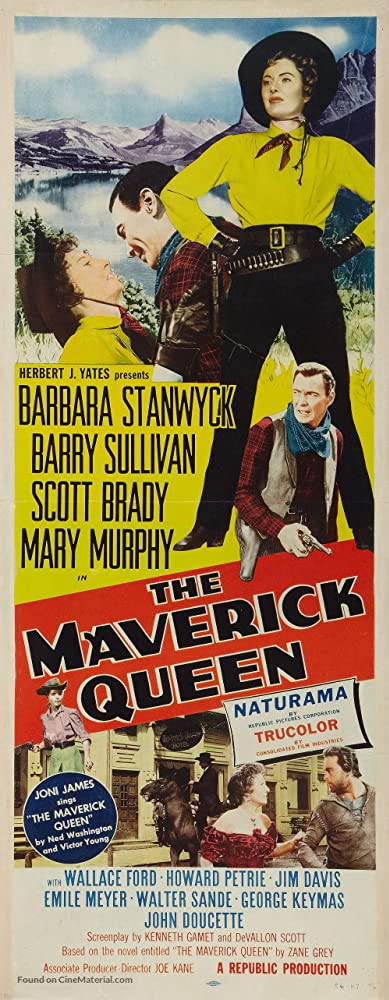 Barbara Stanwyck, Scott Brady, Mary Murphy, and Barry Sullivan in The Maverick Queen (1956)