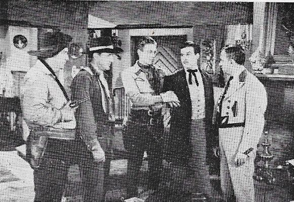 Smiley Burnette, Leander De Cordova, Bud Geary, and Robert Livingston in The Laramie Trail (1944)