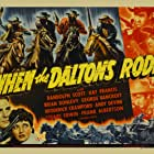 Randolph Scott, Broderick Crawford, Brian Donlevy, George Bancroft, Andy Devine, and Kay Francis in When the Daltons Rode (1940)