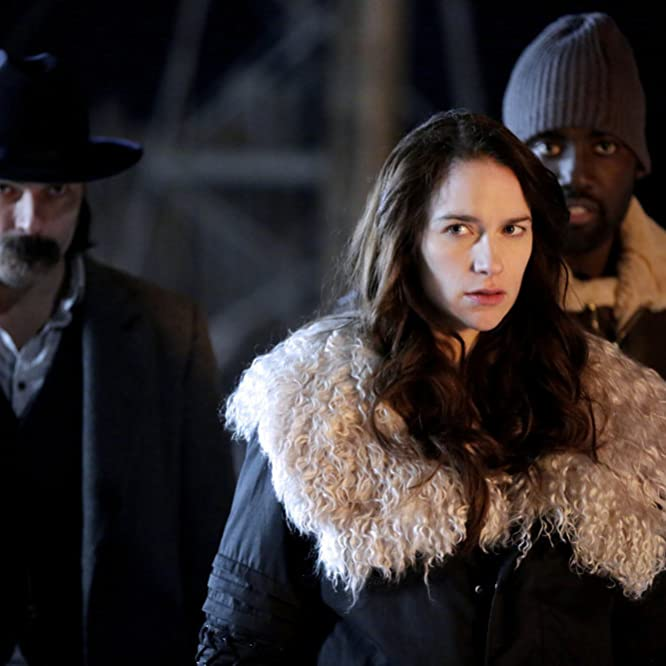 Tim Rozon, Melanie Scrofano, and Shamier Anderson in Wynonna Earp (2016)