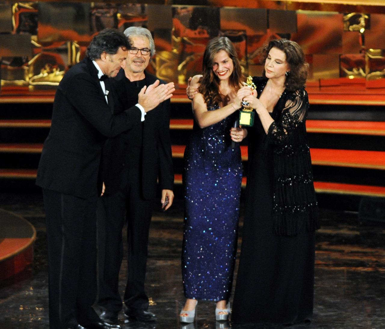 Luca Barbareschi, Micaela Ramazzotti, Stefania Sandrelli, and Tullio Solenghi at an event for La prima cosa bella (2010)