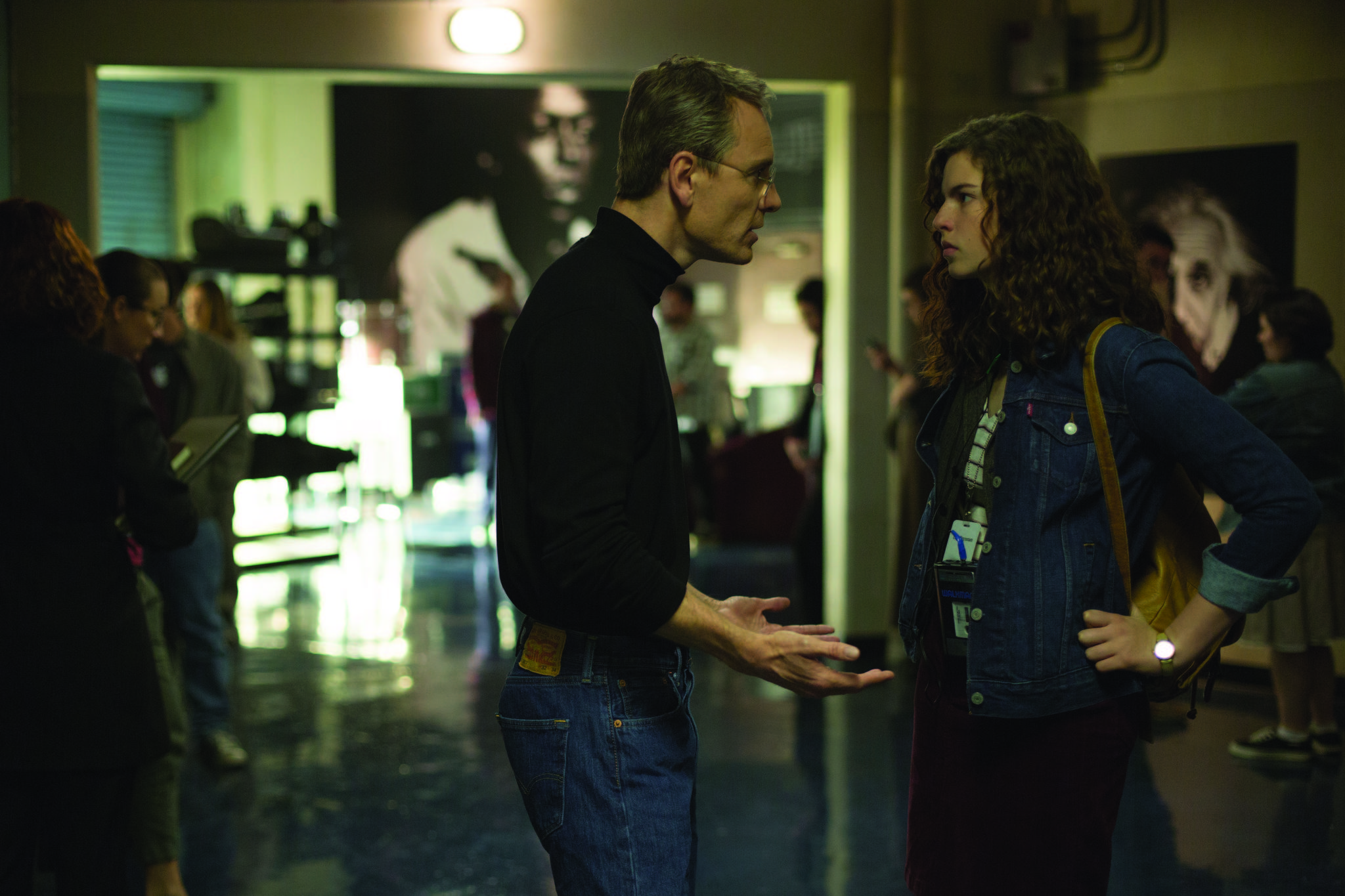 Michael Fassbender and Perla Haney-Jardine in Steve Jobs (2015)