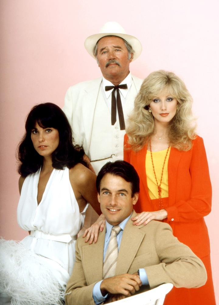 Morgan Fairchild, Mark Harmon, Howard Duff, and Cristina Raines in Flamingo Road (1980)