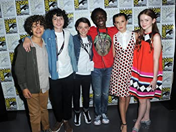 Caleb McLaughlin, Sadie Sink, Millie Bobby Brown, Finn Wolfhard, Noah Schnapp, and Gaten Matarazzo at an event for Stranger Things (2016)