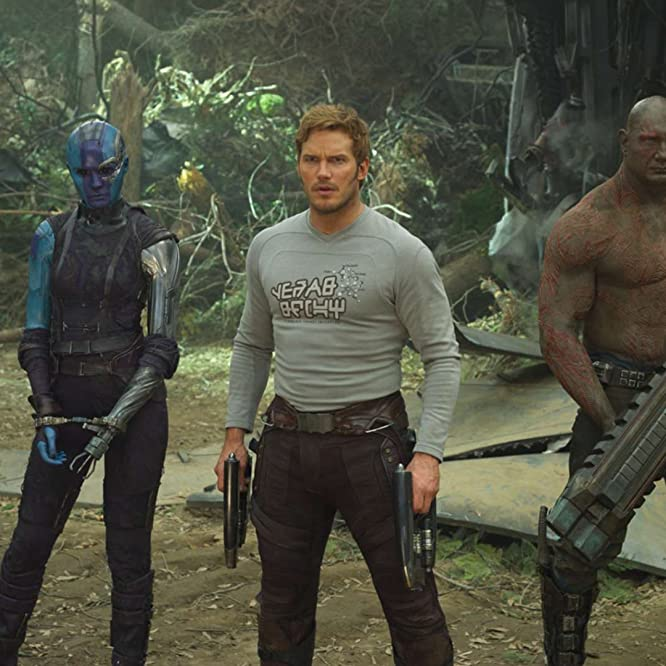 Bradley Cooper, Sean Gunn, Chris Pratt, Zoe Saldana, Dave Bautista, and Karen Gillan in Guardians of the Galaxy Vol. 2 (2017)