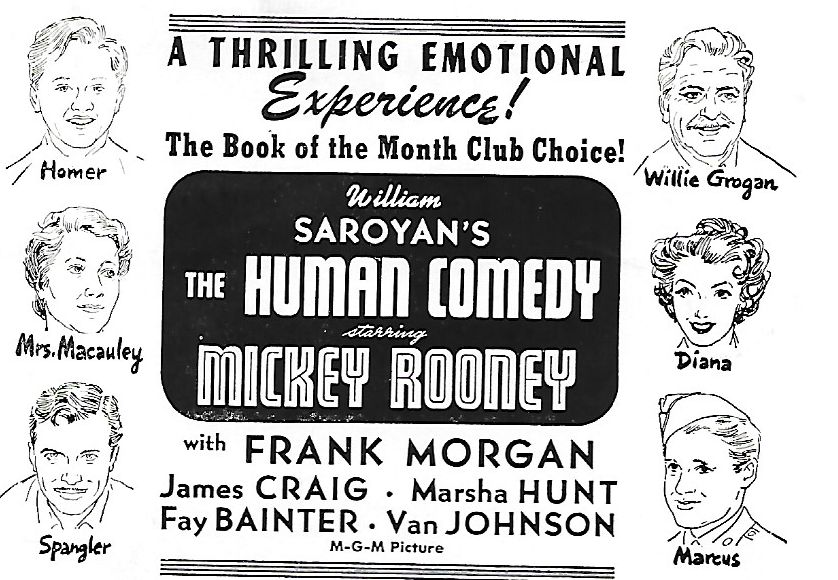 Mickey Rooney, Van Johnson, Fay Bainter, James Craig, Marsha Hunt, and Frank Morgan in The Human Comedy (1943)