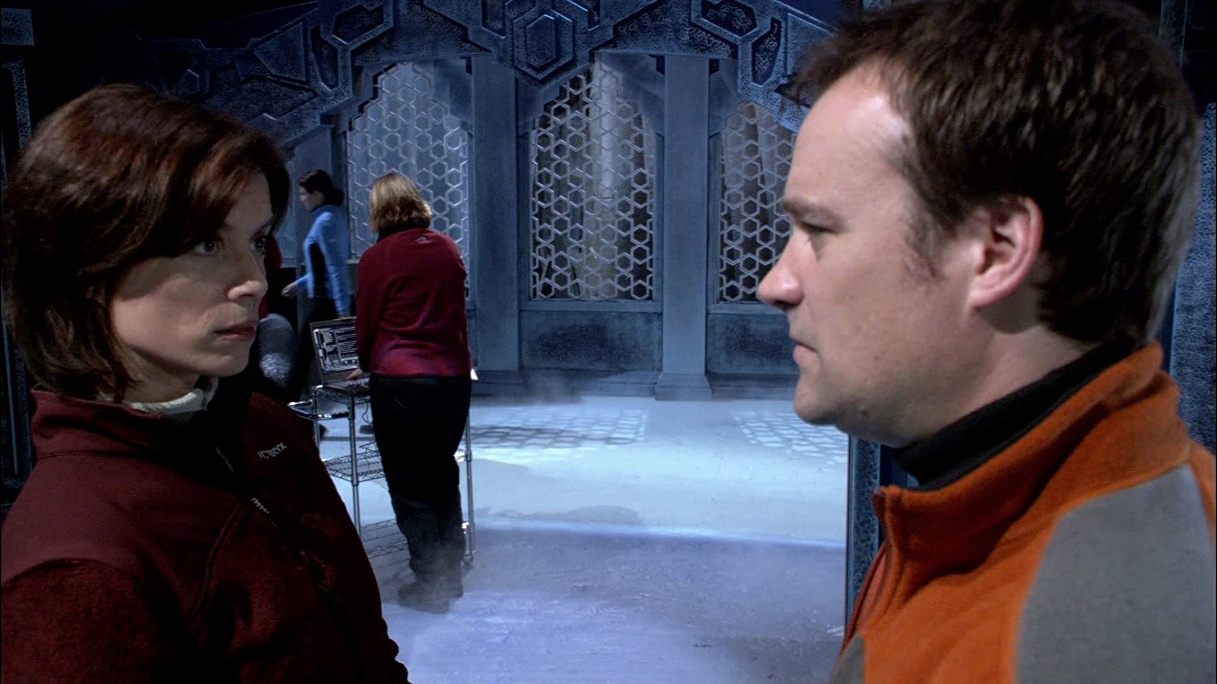 David Hewlett and Torri Higginson in Stargate: Atlantis (2004)