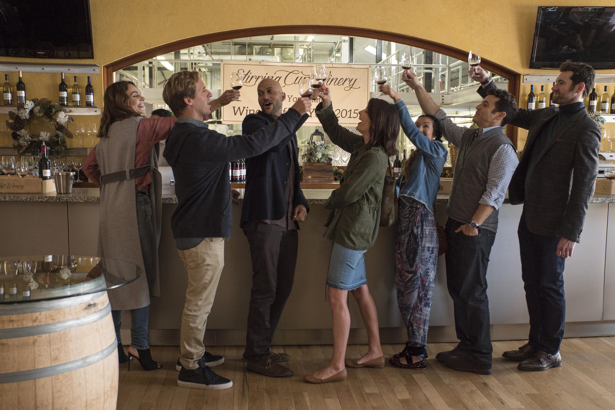 Fred Savage, Nat Faxon, Annie Parisse, Jae Suh Park, Cobie Smulders, Keegan-Michael Key, and Billy Eichner in Friends from College (2017)