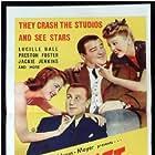 Bud Abbott, Lou Costello, Jean Porter, and Frances Rafferty in Bud Abbott and Lou Costello in Hollywood (1945)