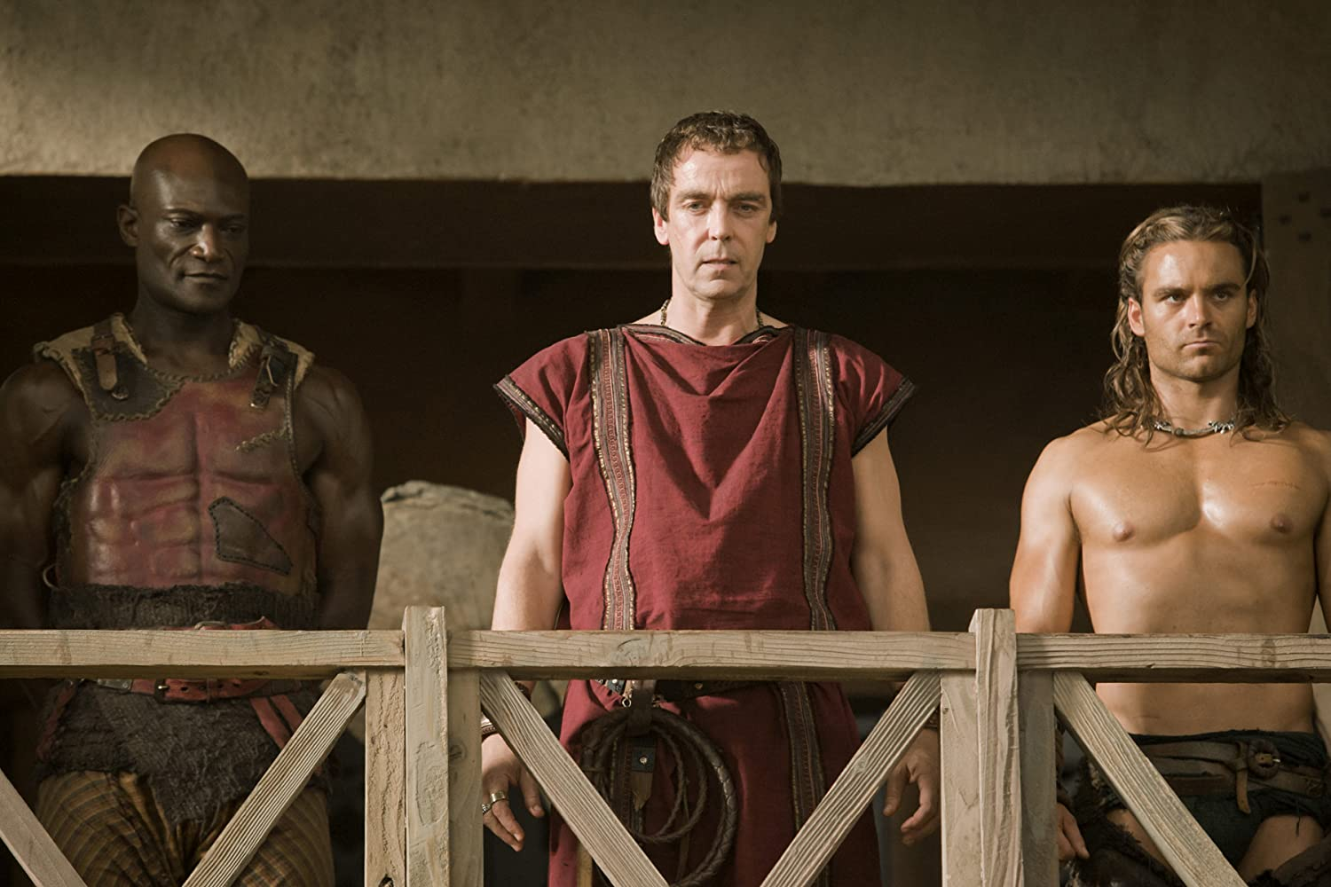 John Hannah, Peter Mensah, and Dustin Clare in Spartacus: Gods of the Arena (2011)