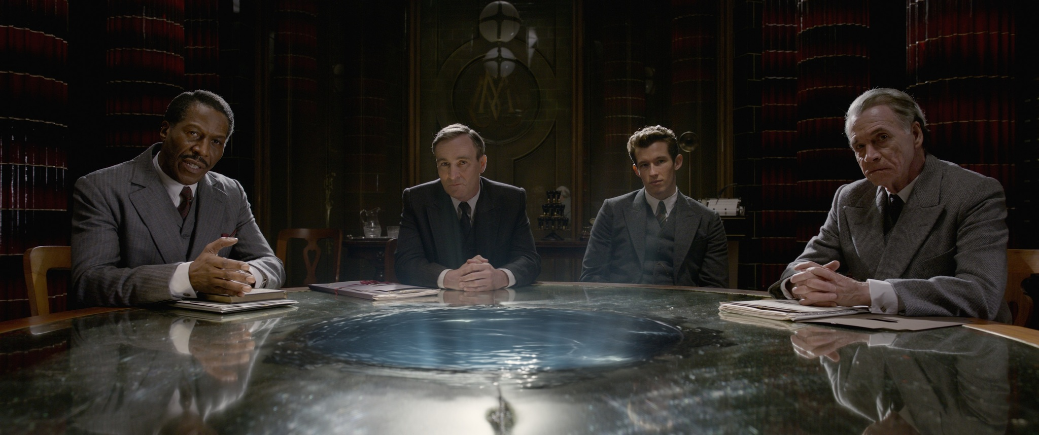 Cornell John, Derek Riddell, Wolf Roth, and Callum Turner in Fantastic Beasts: The Crimes of Grindelwald (2018)