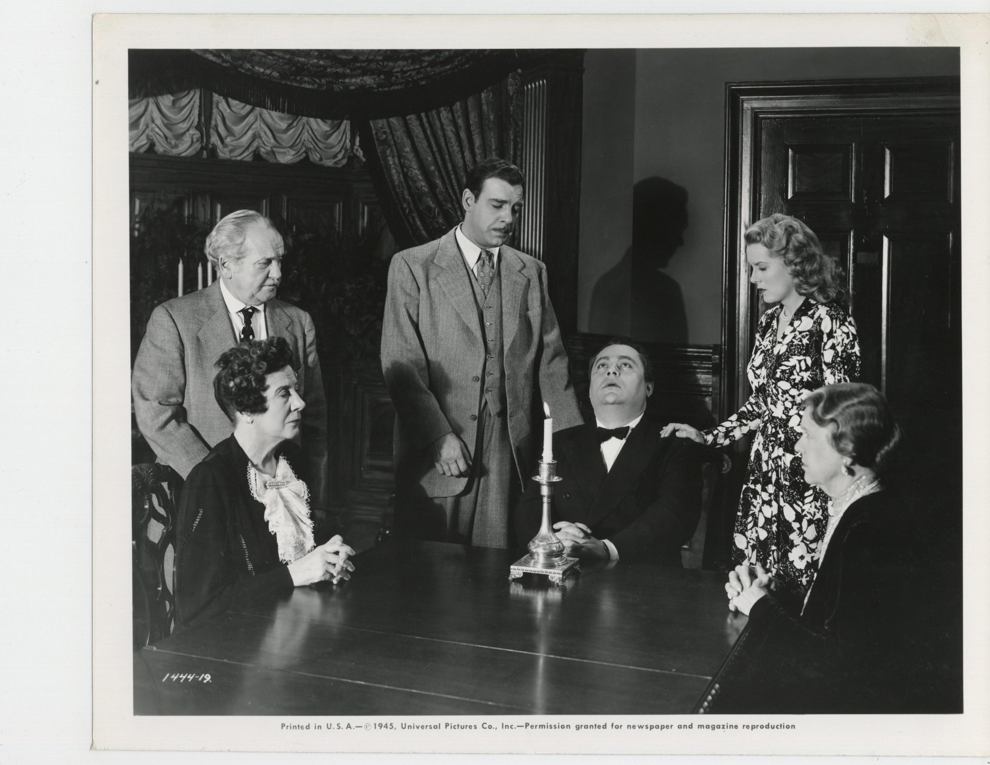 Lon Chaney Jr., Clara Blandick, J. Edward Bromberg, George Cleveland, Rosalind Ivan, and Brenda Joyce in Pillow of Death (1945)