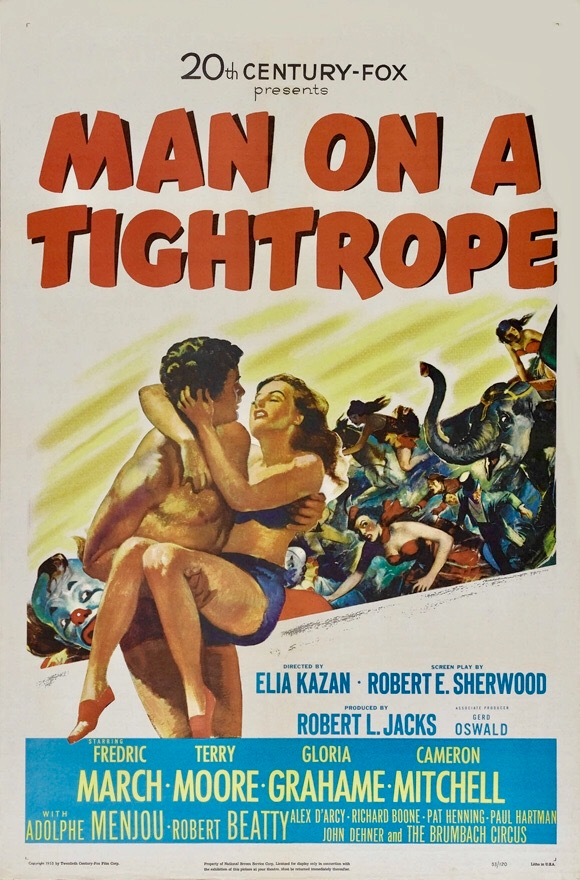Cameron Mitchell and Terry Moore in Man on a Tightrope (1953)