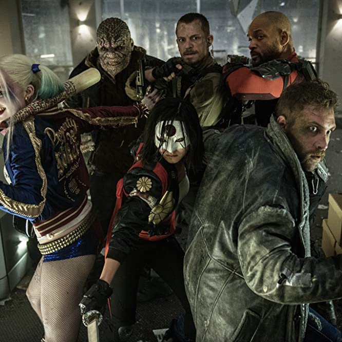 Will Smith, Adewale Akinnuoye-Agbaje, Joel Kinnaman, Jai Courtney, Margot Robbie, and Karen Fukuhara in Suicide Squad (2016)