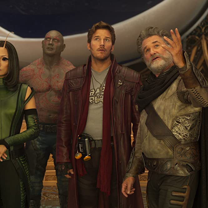 Kurt Russell, Chris Pratt, Zoe Saldana, Dave Bautista, and Pom Klementieff in Guardians of the Galaxy Vol. 2 (2017)