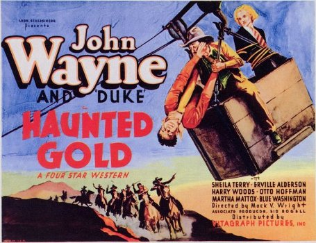 John Wayne, Sheila Terry, and Harry Woods in Haunted Gold (1932)