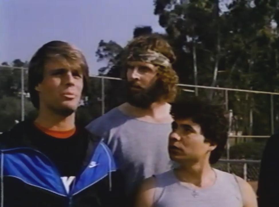Donald Gibb, Adam Mills, and Trinidad Silva in Jocks (1986)