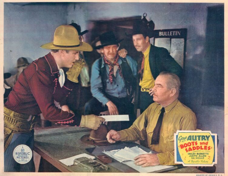 Gene Autry, Bill Elliott, Bud Osborne, and Guy Usher in Boots and Saddles (1937)