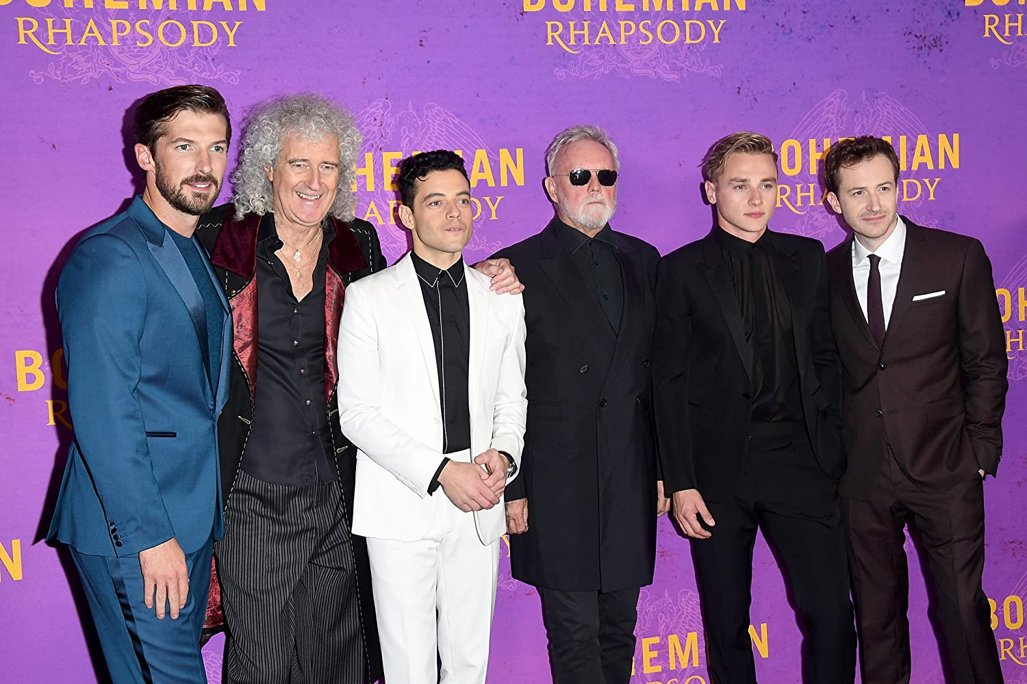 Joseph Mazzello, Roger Taylor, Brian May, Rami Malek, Gwilym Lee, and Ben Hardy at an event for Bohemian Rhapsody (2018)
