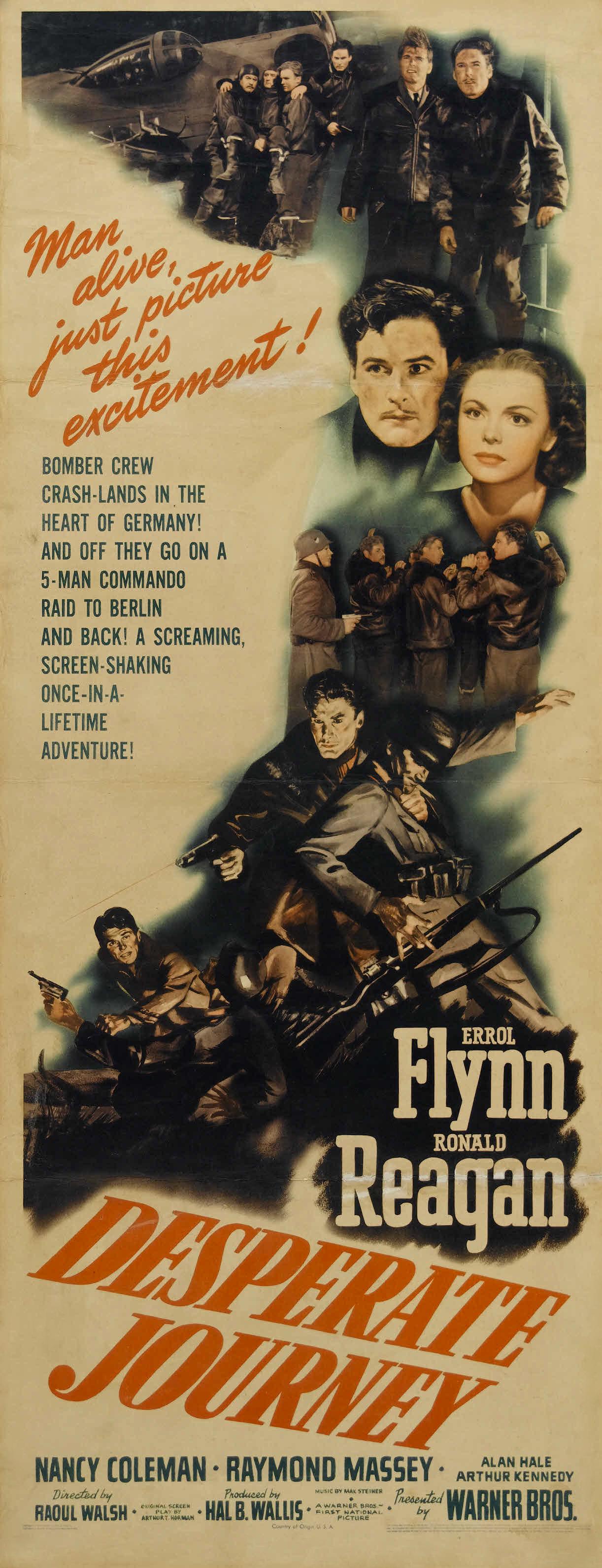 Errol Flynn, Ronald Reagan, and Nancy Coleman in Desperate Journey (1942)