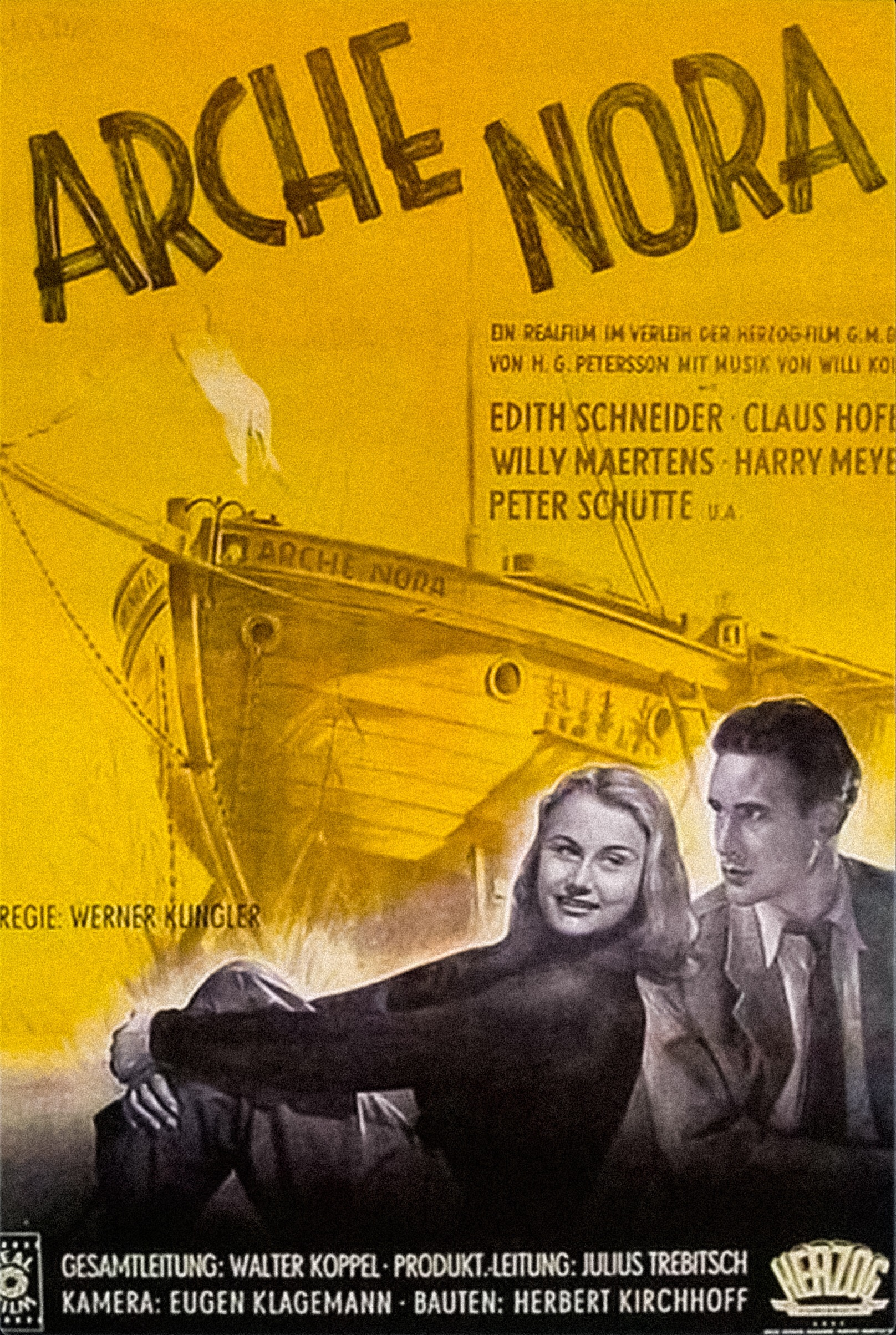 Claus Hofer, Werner Klingler, Willy Maertens, Harry Meyen, Edith Schneider, and Peter Schütte in Arche Nora (1948)